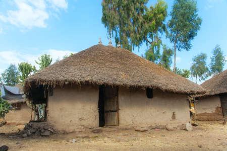 ethiopian ethnicity: Ethiopia,Addis Ababa,December 15,2013.Traditional Ethiopian clay dwelling -tikul,near Lake Langano,Ethiopia,December 15,2013.