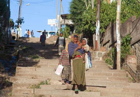 ababa: ETHIOPIA ADDIS ABABA,JANUARY 04, 2014. People on the street in Addis Ababa, January 04, 2014.