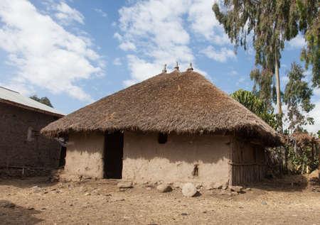 ethiopian: Ethiopia,Addis Ababa,December 15,2013.Traditional Ethiopian clay dwelling -tikul,near Lake Langano,Ethiopia,December 15,2013.