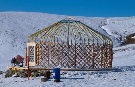 mongol: Construction Turkic yurts in Central Asia