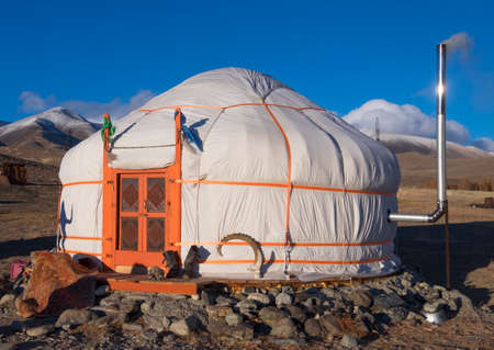 mongols: yurt traditional house of Turks and Mongols in the steppes of Central Asia