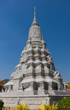 cremated: CAMBODIA, PHNOM PENH - JANUARY 2015: Stupa of Ang Duong at the Silver Pagoda on January 13, 2015 in Phnom Penh. Stupa of His Majesty Ang Duong was built in 1908 and contains his cremated ashes