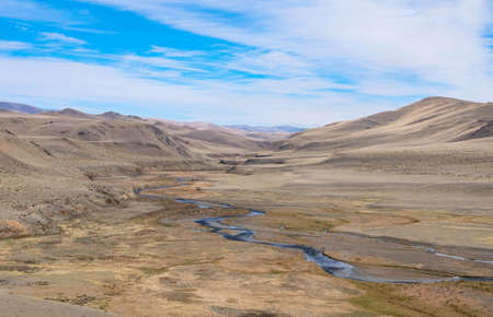 alluvial: Fluvial terrace in Central Asia in the Altai. The result of glacial and river erosion. Photo illustrates well the geological processes Stock Photo