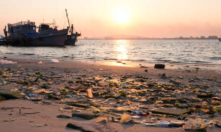 spontaneous: Spontaneous garbage dump on a beach in Indochina Stock Photo