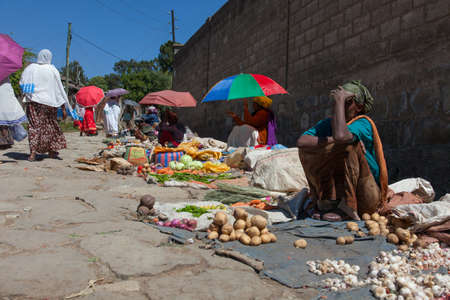 ethiopian ethnicity: ADDIS ABABA, Ethiopia - December 2014: Sale of vegetables and fruit in the Ethiopian capital
