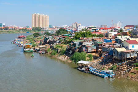 underdeveloped: Phnom Penh the capital of Cambodia and the Mekong river Stock Photo