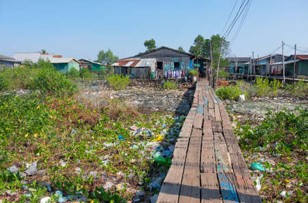 underprivileged: House on stilts in Cambodia are everywhere Stock Photo
