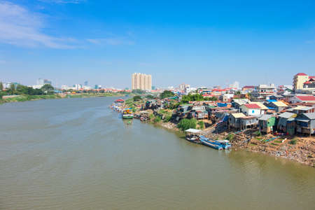 Phnom Penh the capital of Cambodia and the Mekong river Stock Photo