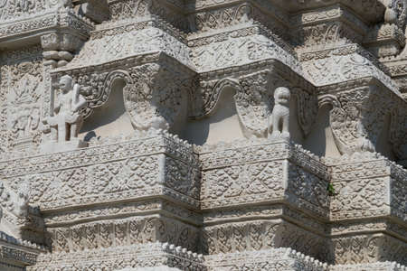 the majesty: CAMBODIA, PHNOM PENH - JANUARY 2015: Stupa of Ang Duong at the Silver Pagoda on January 13, 2015 in Phnom Penh. Stupa of His Majesty Ang Duong was built in 1908 and contains his cremated ashes