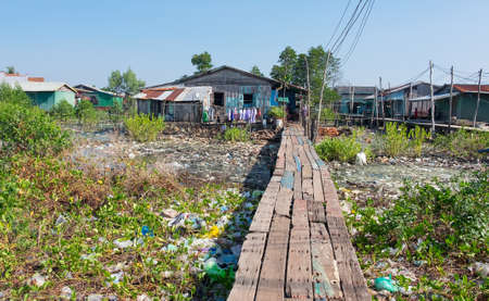 underdeveloped: House on stilts in Cambodia are everywhere Stock Photo