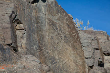 The ancient drawings on rocks in the mountains