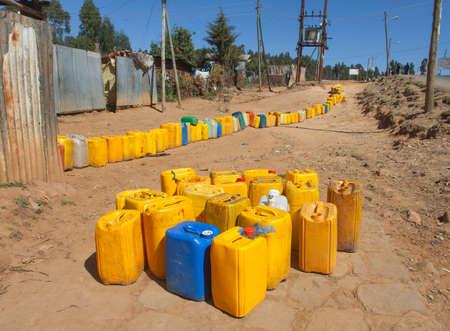 Ethiopia,Addis Ababa,January 5,2014. Waiting for water on the Mount Entoto, Ethiopia,Addis Ababa, January5,2014.