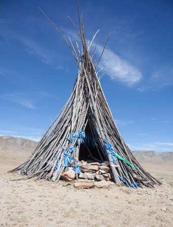 mongolian: Buddhism and Shamanism in the Mongolian desert Stock Photo