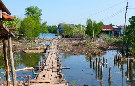 House on stilts in Cambodia are everywhere Stock Photo