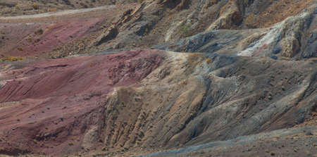 Multi-colored mountains of sedimentary rocks