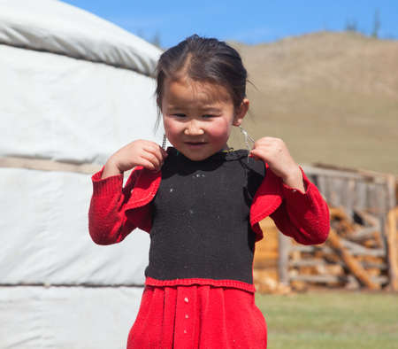 Portrait of a little girl living in the Altai mountains on the border of Mongolia