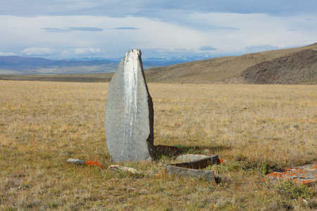 Ancient gravestones in the steppes of the Altai and Mongolia