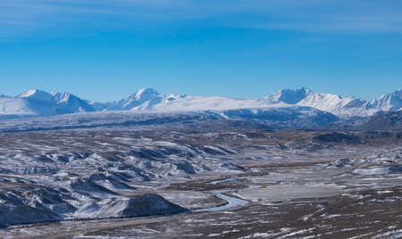 high-altitude desert in early winter Standard-Bild