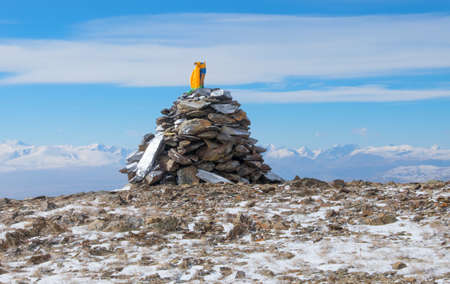Funeral heap of stones, in Asia they are called Ovoo Standard-Bild