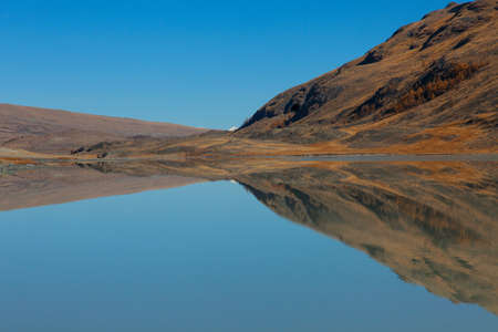 The mirror surface of the water of a mountain lake