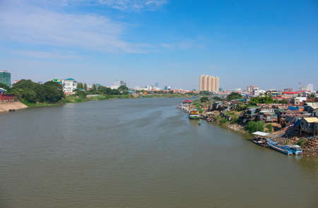 Phnom Penh the capital of Cambodia and the Mekong river Standard-Bild