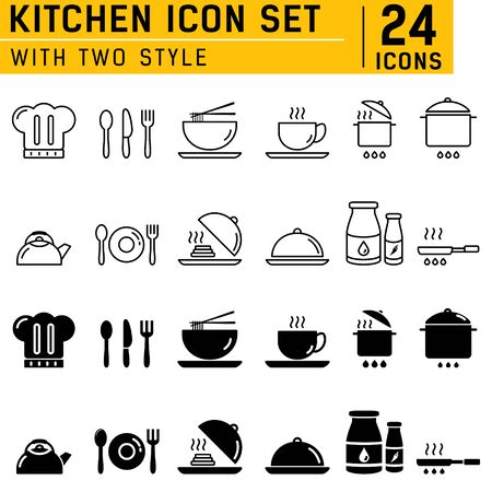 Kitchen icons set with two style. Flat design