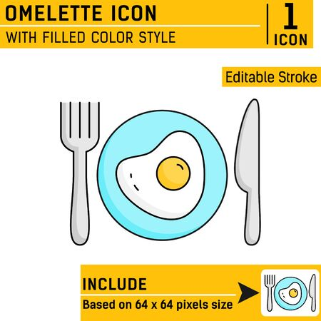 fried egg on plates with cutlery knife and fork premium icon with linear color style isolated on white background. Vector illustration design template for graphic, logo, restaurant and print. EPS file