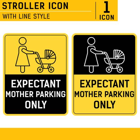 Expectant mother parking only sign symbol with line style isolated on white background. Parking sign for women with children vector icon design template for print and all project. EPS file