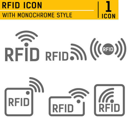 Monochrome set of icons RFID. set of icons featuring radio and radio waves. set of icons with different variations of RFID image in different forms. RFID logo with object of communication Illusztráció