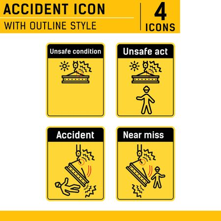 Unsafe condition, unsafe act, near miss, accident icon set. With line style on isolated white background. Accident icon set contains such icons as unsafe condition, unsafe act, near miss and other