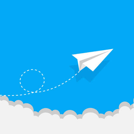 White paper airplane with shadow. Paper airplane on blue background. Leadership, teamwork ,Abstract, Blue, Business. Paper airplane in the sky with clouds