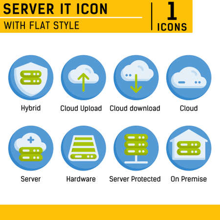 Server IT and technology icon set. Vector icon with flat style on isolated white background. Server IT icon set contains such icons as cloud, hybrid, server, hardware, on premise and other
