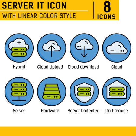 Server IT and technology icon set. Vector icon with lineal color style on isolated white background. Server IT icon set contains such icons as cloud, hybrid, server, hardware, on premise and other. EPS file