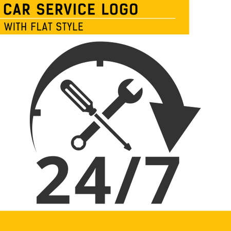24/7 Car Service Logo with screwdriver and wrench. isolated vector illustration. 向量圖像