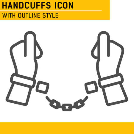 Handcuffs, manacles or shackles icon with outline style. Chained, handcuffed hands. Vector Illustration. EPS file