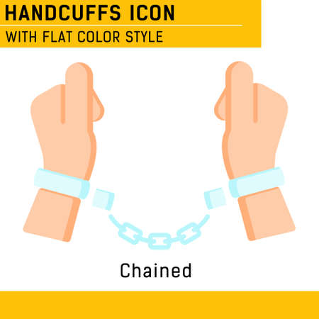 Handcuffs, manacles or shackles icon with flat color style.