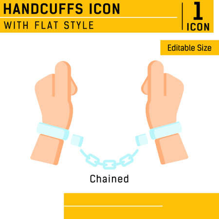 Handcuffs, manacles or shackles icon with flat color style. Chained, handcuffed hands. Vector Illustration.