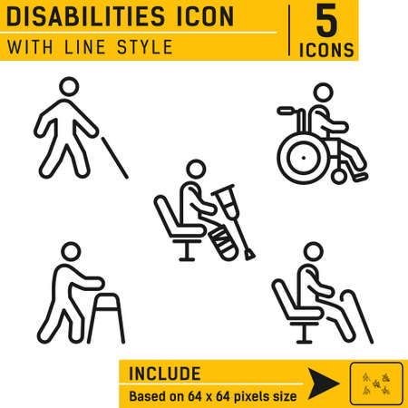 People disabilities vector icon. People disabilities vector icon with line style. Vector icon for web and other. Easy to change color and size. Icon neatly designed on pixel perfect 64X64 size grid