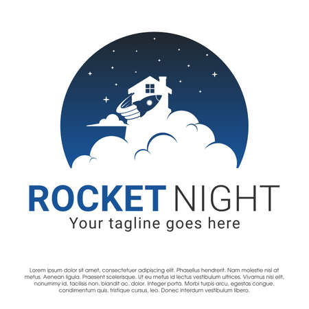 Rocket home negative space vector concept design template isolated on white background. Rocket home vector Illustration in inside a circle with star night design for business and more Ilustracja