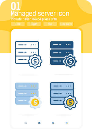 Managed web hosting server premiun icon with multiple style isolated on white background. Vector illustration sign symbol icon design for websites, mobile apps, UI, UX, technology and all project