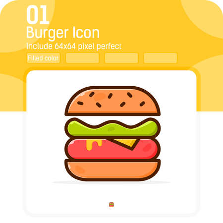burger premiun icon with filled line style isolated on white background. Vector illustration sign symbol icon design for web design, mobile apps, UI, UX, graphic design, website, food and all project