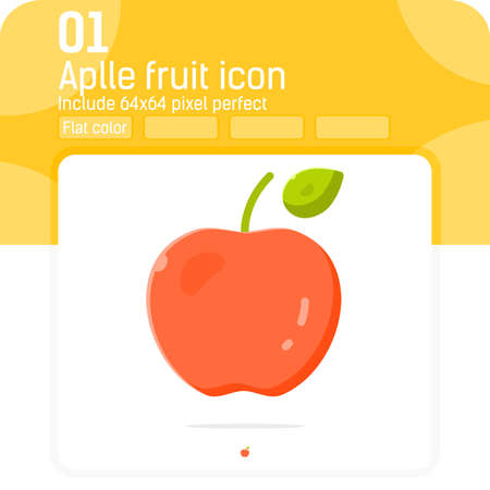 Apple fruit icon with flat style isolated on white background. Vector, sign and symbol icon for graphic design, web design, ui, ux, presentation, food, website or apps elements. Editable size