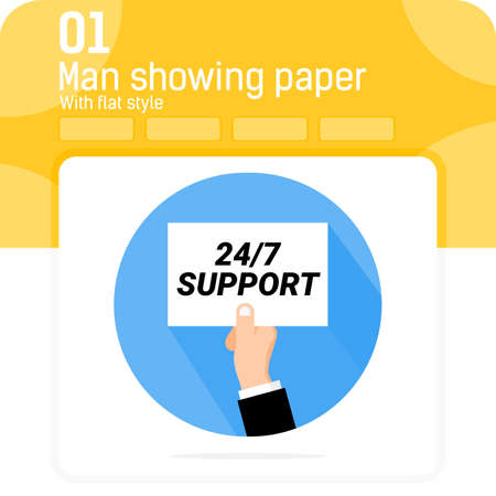 24/7 support paper holding hand premiun icon with flat style isolated on white background. Vector illustration 24/7 support service sign symbol icon for web design, ui, ux, applications and business Stock Illustratie