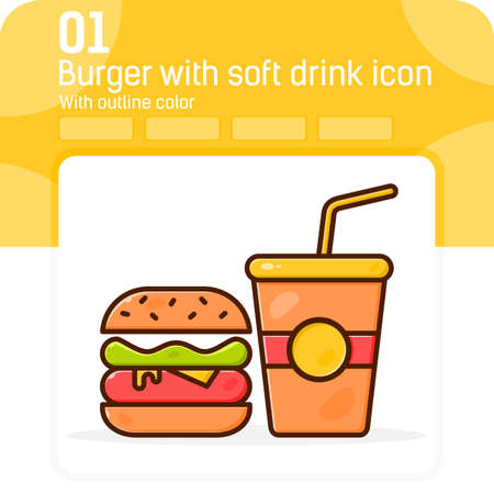 Burger with soft drink premium icon with outline color style isolated on white background. Vector illustration sign symbol pixel aligned icon concept for web design, ui, ux, website and fast food 矢量图像