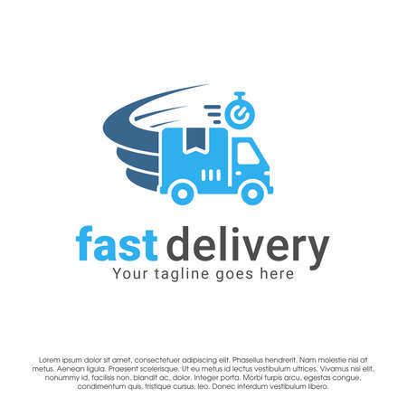 Delivery logo icon design concept template. Fast delivery vector illustration isolated on white background. Truck in motion logo design. Car swoosh wind logo design template.