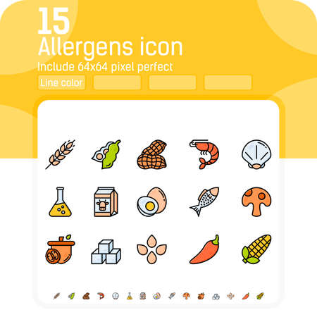 Allergens line color icons vector set. Isolated on white background. Allergens icon with lineal color style. Food allergens symbols emblems signs collection. Allergens and diet outline color icons set