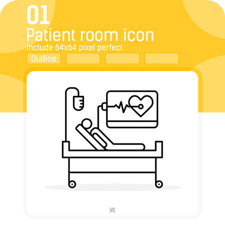 Medical supervision vector icon with outline style isolated on white background. Vector illustration thin line patient sign symbol icon for web design, ui, ux, industry, hospital, clinic, mobile apps Illusztráció