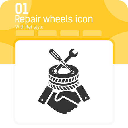 repair wheels icon with high quality black style isolated on white background. Vector illustration repair sign symbol icon concept for workshop, ui, ux, website, design or mobile application