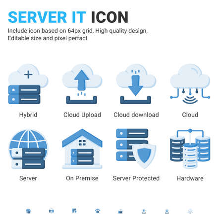 Server IT and technology icon set. Editable size. With flat color style on isolated white background. Server IT icon set contains such icons as cloud, hybrid, server, hardware, on premise and other