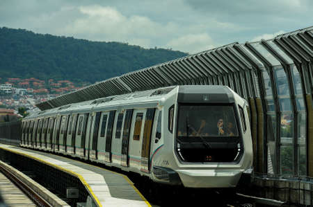 Kuala Lumpur December 20, 2016. A Mass Rapid Transit (MRT) train operates during the opening to the public of the MRT line at Sungai Buloh.